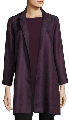 Eileen Fisher Gypsum Jacquard Long Stand Collar Jacket $598 thestylecure.com