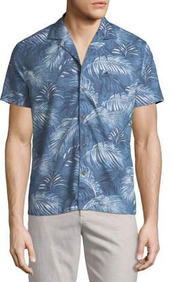 Original Penguin Slim-Fit Palm-Leaf Short-Sleeve Sport Shirt