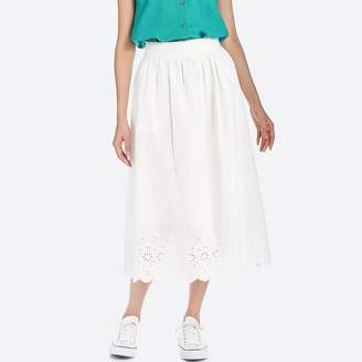 Uniqlo WOMEN High Waist Cotton Lawn Eyelet Long Skirt
