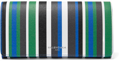 Balenciaga  Balenciaga - Striped Textured-leather Wallet - Blue