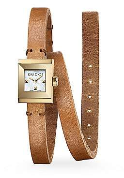 Gucci Women's G-Frame Leather Wrap Strap Watch