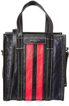 Balenciaga Bazar Xs Striped Leather Shopper Tote