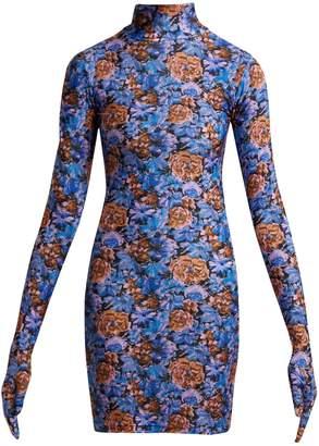 Vetements Floral-print glove-sleeve jersey dress