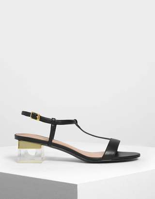 Charles & Keith T-Bar Lucite Heel Sandals