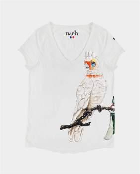 Le Petit Drugstore - White Cotton Cockatoo Print Short Sleeve T Shirt - large | cotton | white - White/White