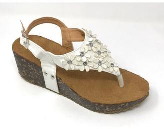 Victoria K Women's Daisy Flowers With Rhinestones Cork Wedge Sandals