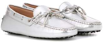 Tod's Gommino metallic leather loafers