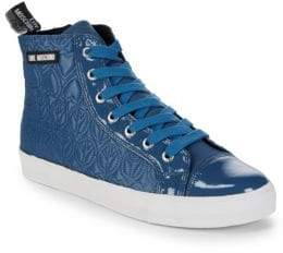 Love Moschino Quilted High-Top Sneakers
