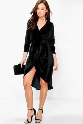 boohoo Velvet Wrap Detail Midi Dress