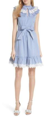 Ted Baker Stripe Frill Bib Fit & Flare Dress