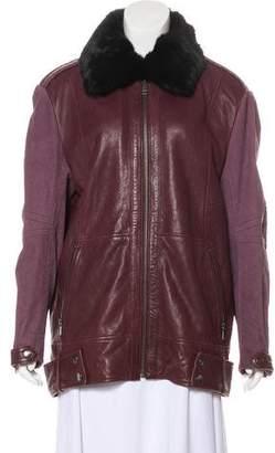 Andrew Marc Leather Fur-Trimmed Jacket