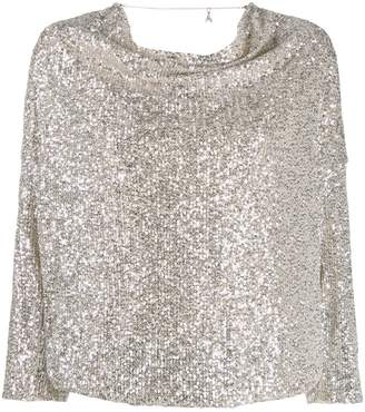 Patrizia Pepe sequin-embellished draped blouse