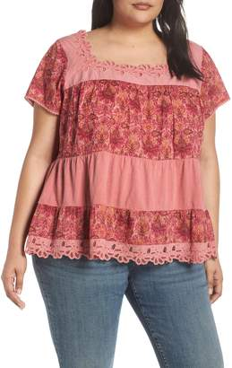 Lucky Brand Lace Tiered Top