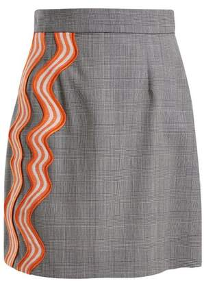 House of Holland Checked Wave Applique Wool Skirt - Womens - Grey Multi