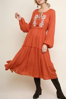 Umgee USA Embroidered Peasant Dress