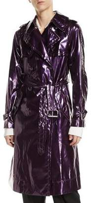Marc Jacobs Double-Breasted Belted Shiny Trench Coat