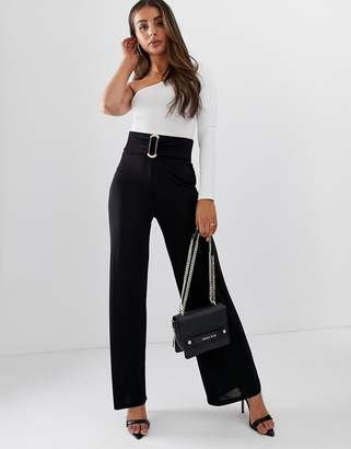 Asos Design DESIGN textured slinky wide leg trouser with gold buckle detail