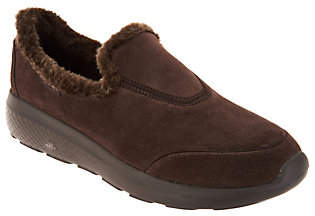 Skechers GOwalk Suede Faux Fur Shoes -Captivating