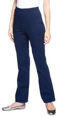 "Denim & Co. How Timeless"" Petite Stretch Boot Cut Pants w/ Side Pockets"