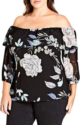 City Chic Flower Show Off the Shoulder Top