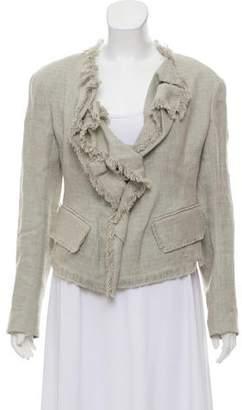 Donna Karan Linen Ruffle Woven Blazer