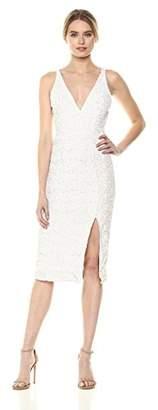 Dress the Population Women's Camilla Plunging Sequin Sleeveless Bodycon Midi Sheath Dress
