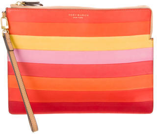 Tory Burch Tory Burch Striped Leather Clutch