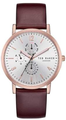 Ted Baker Graham Multifunction Leather Strap Watch, 40mm