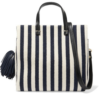 Clare V - Petit Leather-trimmed Striped Cotton-canvas Tote - Midnight blue $340 thestylecure.com