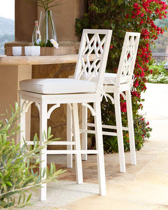 Horchow White Chinoiserie Barstool