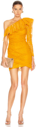 Dundas Lace One Shoulder Mini Dress in Yellow | FWRD