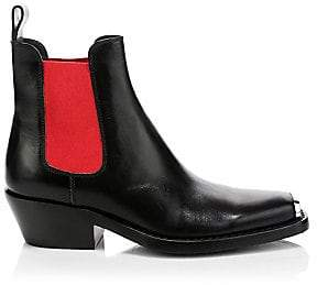 Calvin Klein Women's Western Claire Leather Block Heel Boots