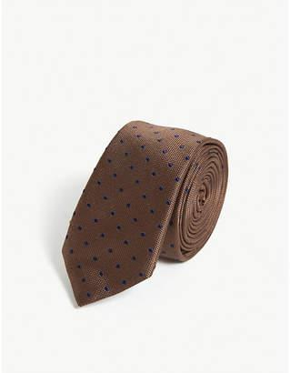 Eleventy Polka dot print silk tie