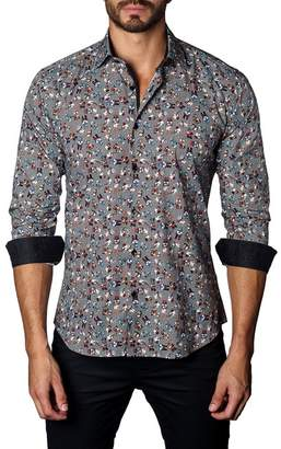 Jared Lang Skull Print Trim Fit Woven Shirt