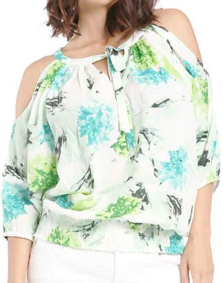 MISS HALLADAY Women Chiffon Woven Ocean BQT Print Blouson Blouse Cut Out Sleeves