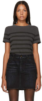 Saint Laurent Grey Striped Logo T-Shirt