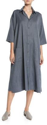 eskandar 3/4-Sleeve Wool-Cashmere Shirtdress