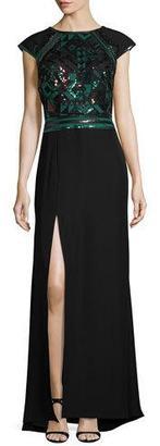 Tadashi Shoji Cap-Sleeve Geometric Sequined Crepe Gown, Deep Leaf/Black $428 thestylecure.com