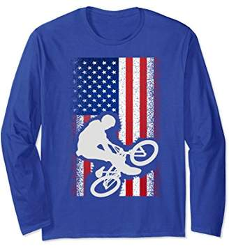 American Flag Bmx T-Shirt Cool Bicycle Motocross Gift Tee
