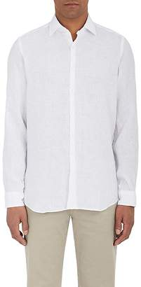 Piattelli MEN'S LINEN BUTTON-FRONT SHIRT