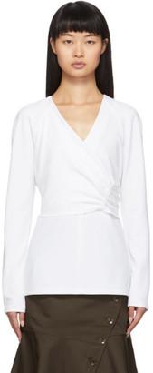 Tibi White Crepe Structured Shirred Blouse