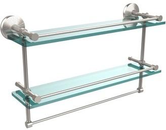 "Allied Brass 22"" Gallery Double Glass Shelf with Towel Bar"