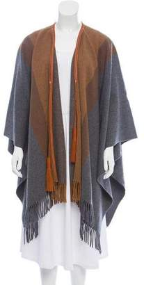 Hermes Leather-Trimmed Cashmere Cape