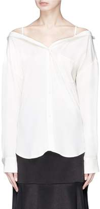 Theory 'Tamalee' off-shoulder silk georgette shirt