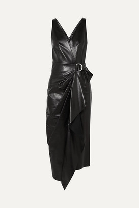 Isabel Marant Fanelia Asymmetric Wrap-effect Leather Midi Dress - Black