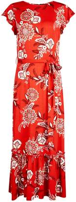 Dorothy Perkins Womens Red Floral Print Jersey Midi Dress
