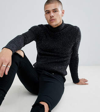 SikSilk knitted roll neck sweater in black exclusive to ASOS