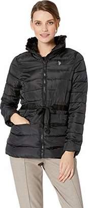 U.S. Polo Assn. Women's Puffer Jacket with Faux Fur Collar