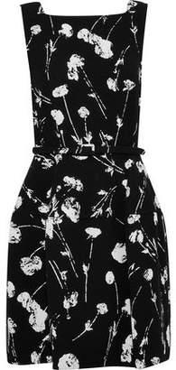 Oscar de la Renta Belted Floral-Print Wool-Blend Dress