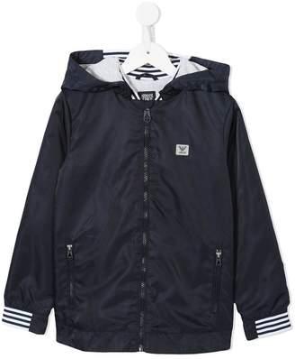 Emporio Armani Kids striped detail hooded jacket